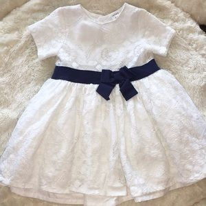 Carter's Dresses - Carters white Dress Navy Bow 12 month